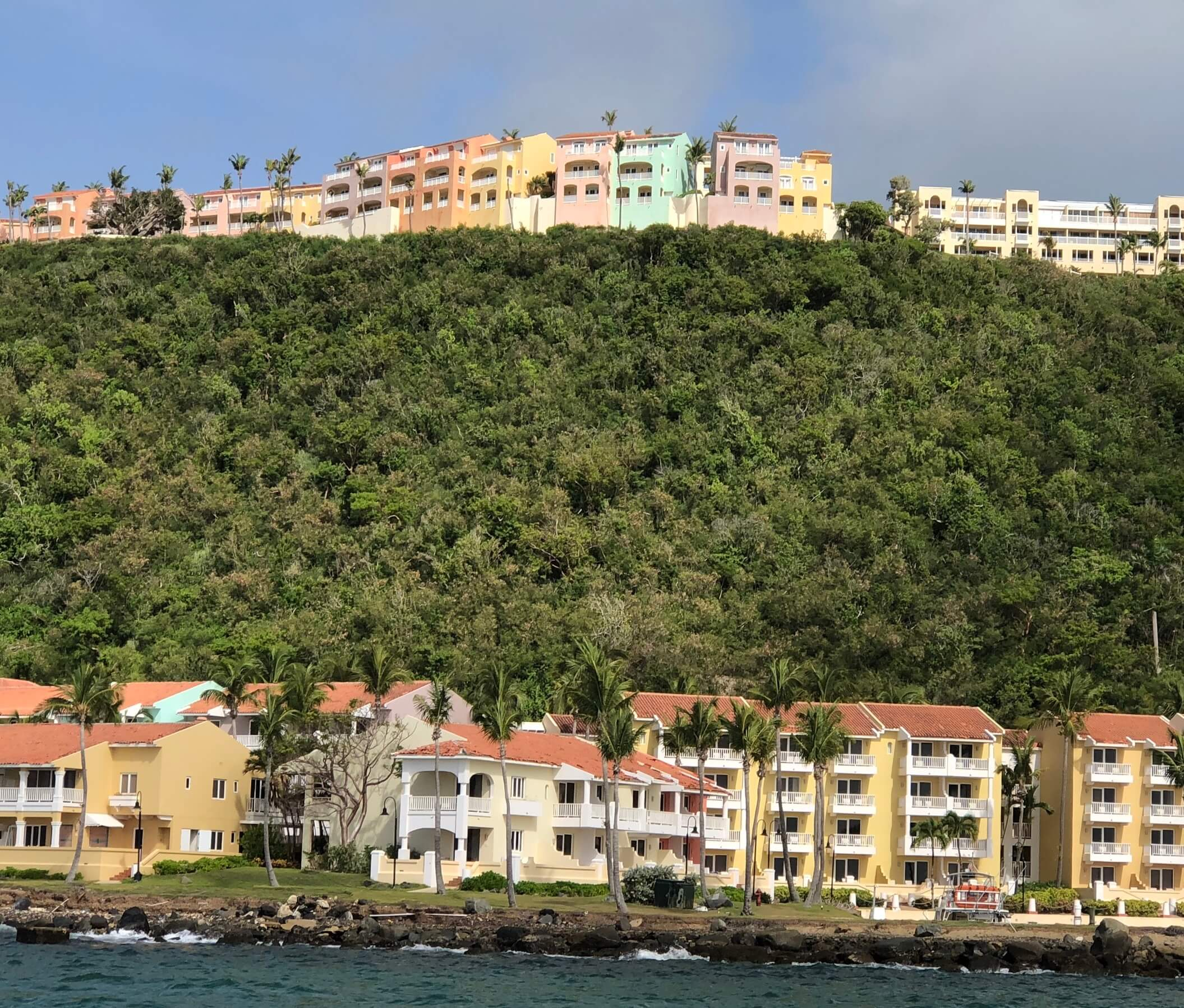 View of  La Casitas Village at El Conquistador, a Waldorf Astoria Resort from the water.