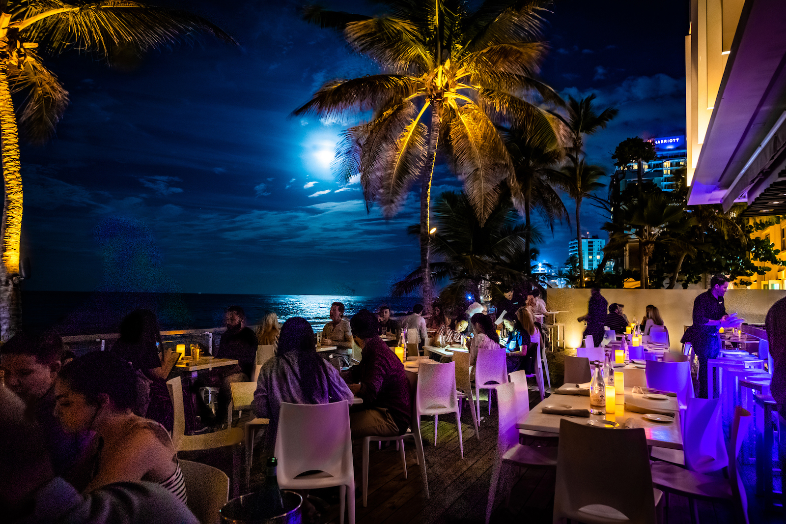 Diners enjoy their meal as well as the view at Oceano.