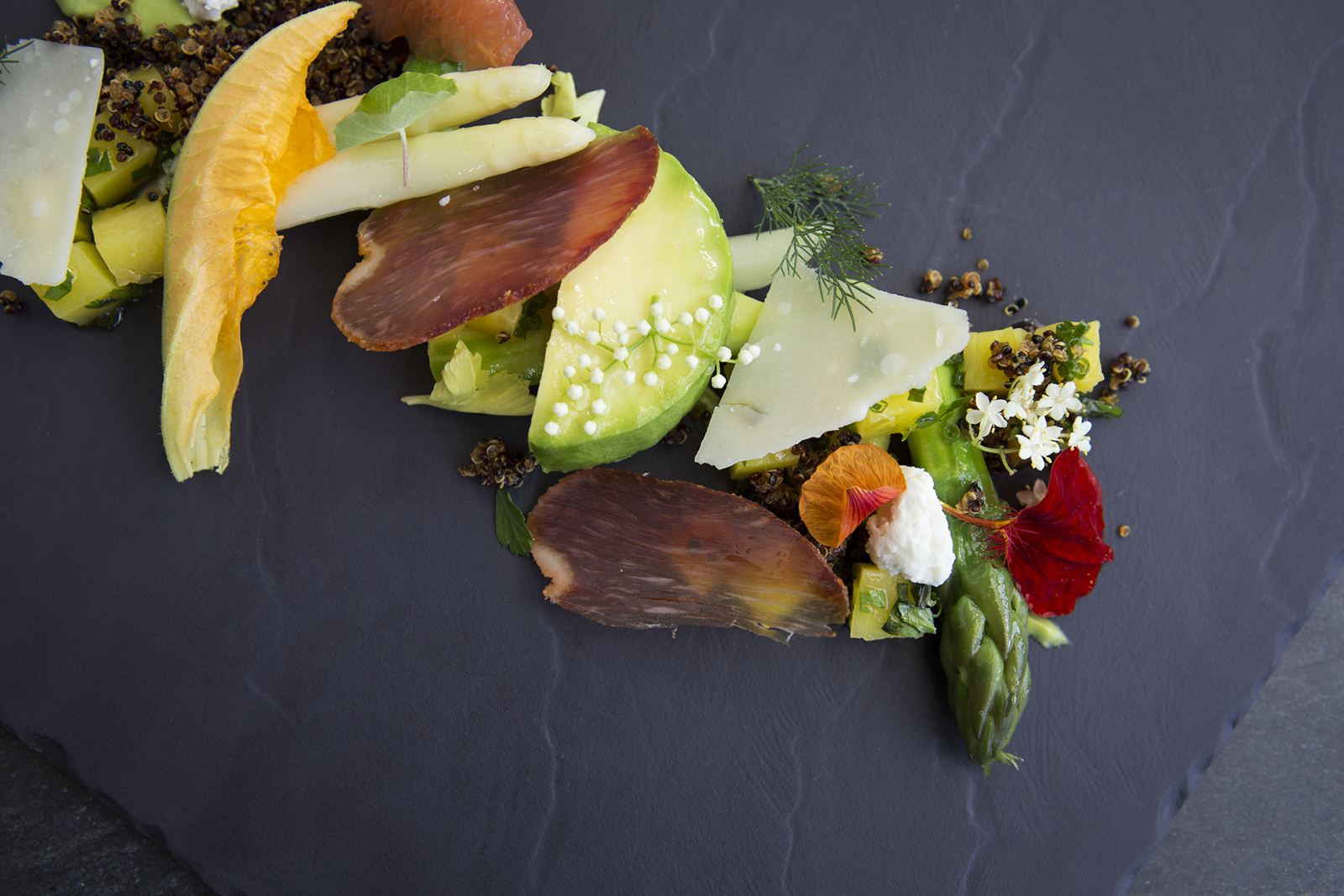 Creative display of vegetables on a plate.