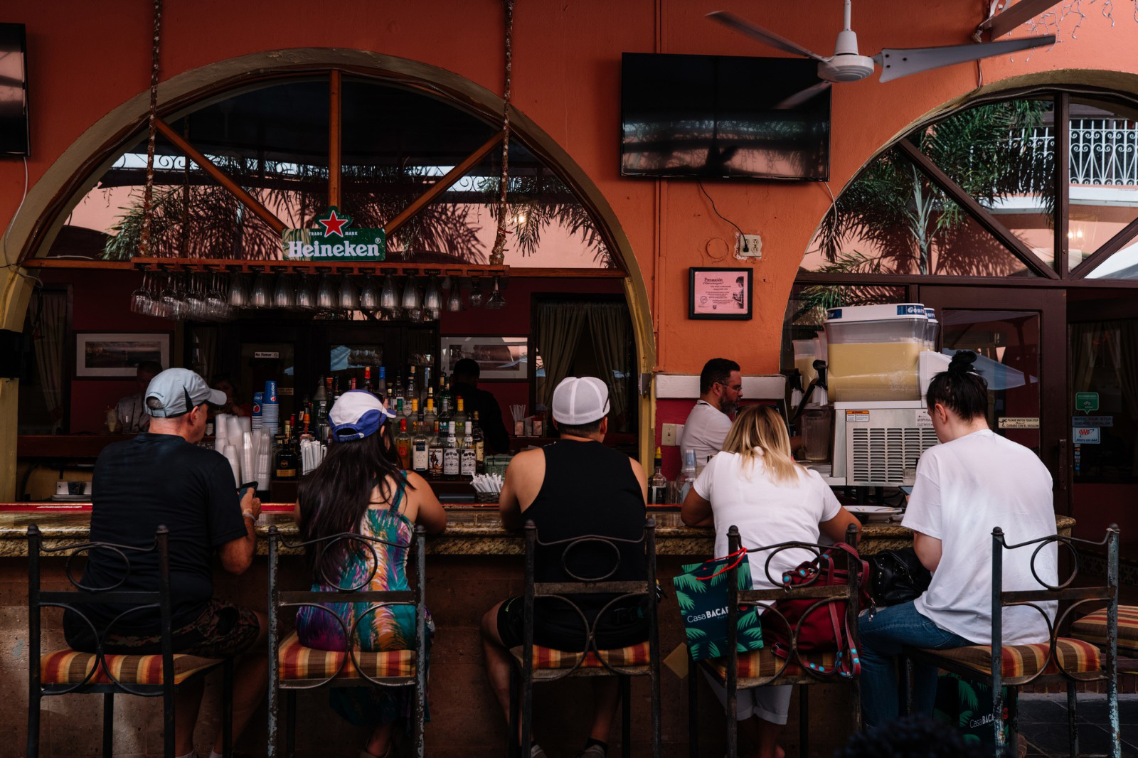 View of a restaurant's bar in Old San Juan.