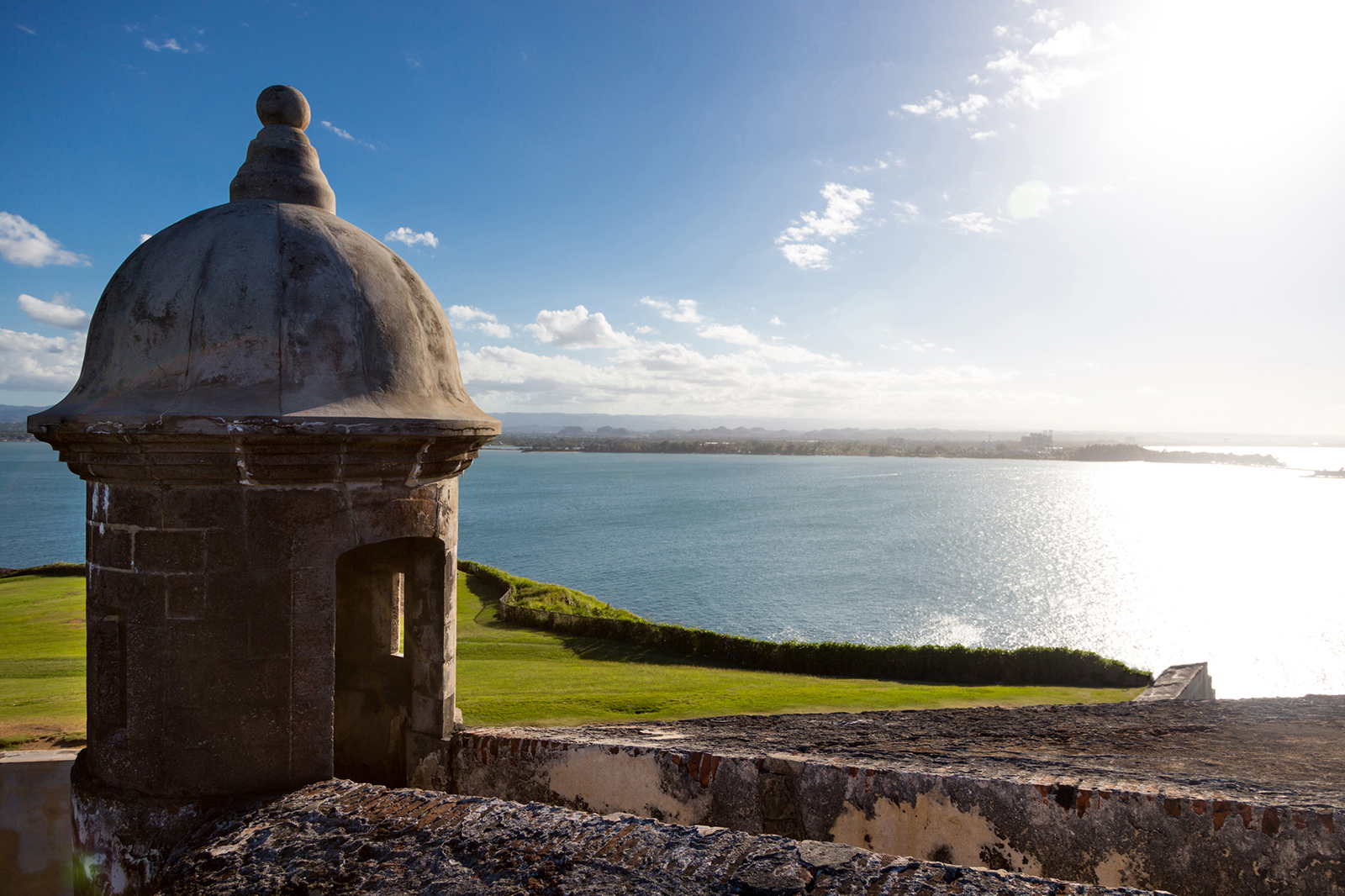 View of a garita and the ocean from El Morro, in Old San Juan.