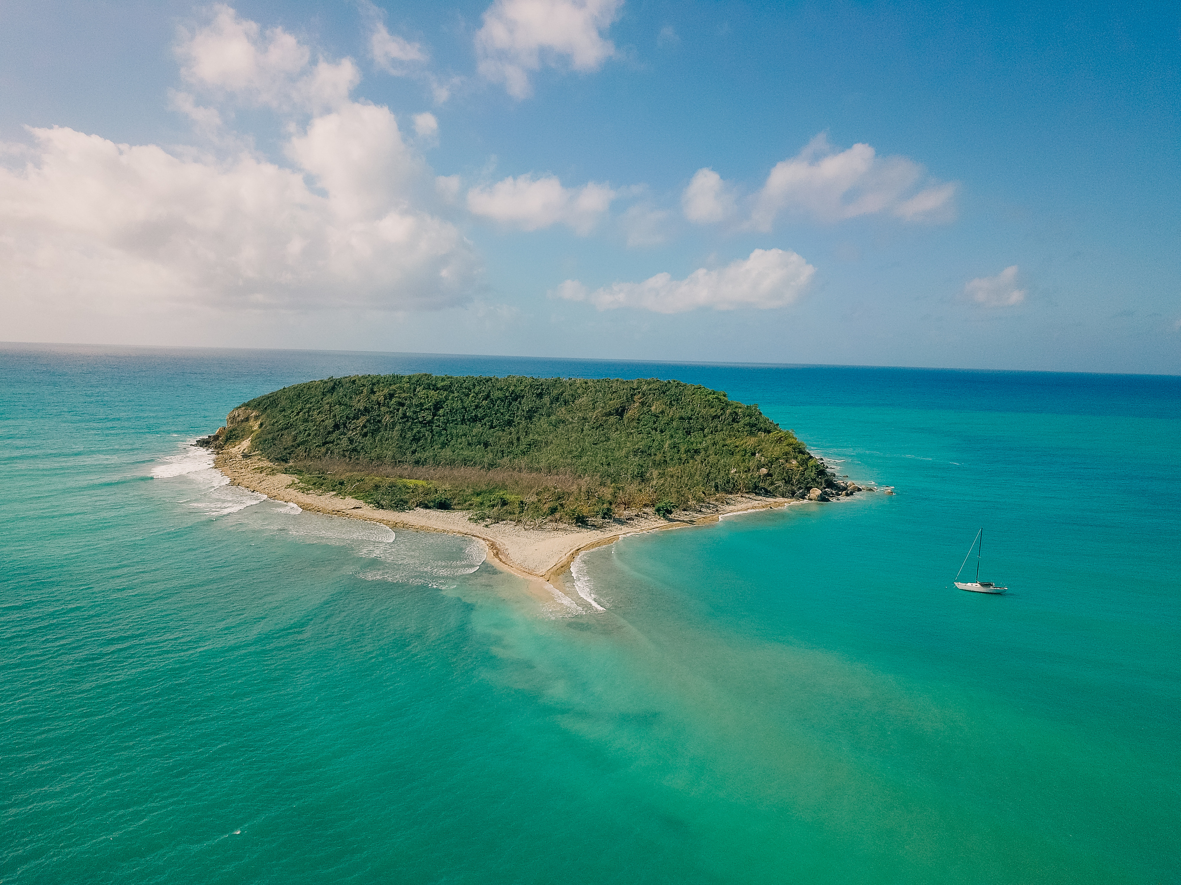 An aerial view of Esperanza Beach in Vieques, Puerto Rico.