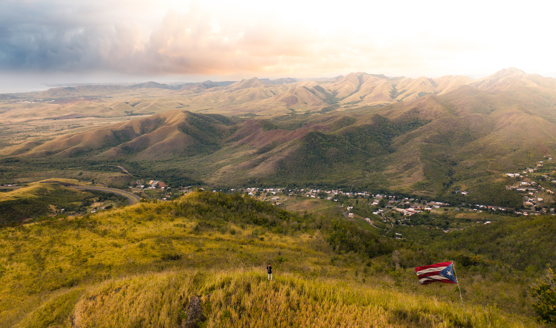 Stunning panoramic view of Puerto Rico's Central Mountain Range.