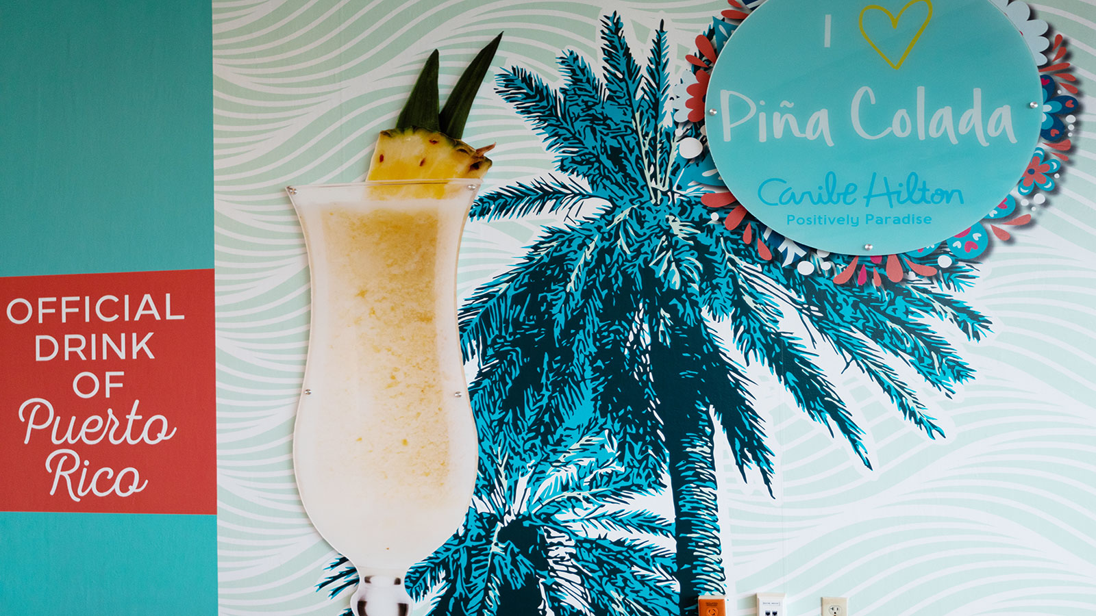 Pina Colada mural at the Caribe Hilton hotel