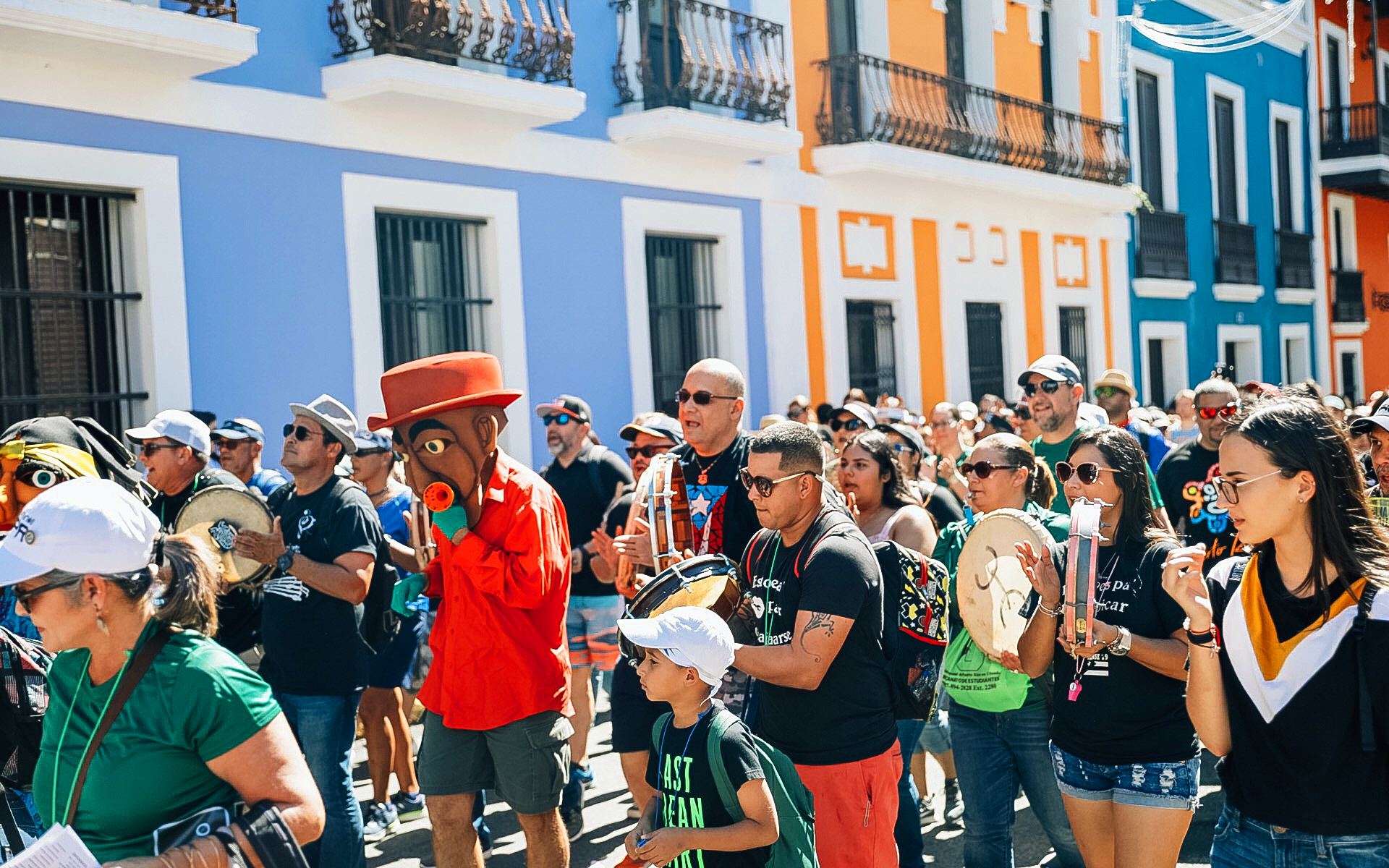 People celebrating the Fiestas de la Calle San Sebastián.