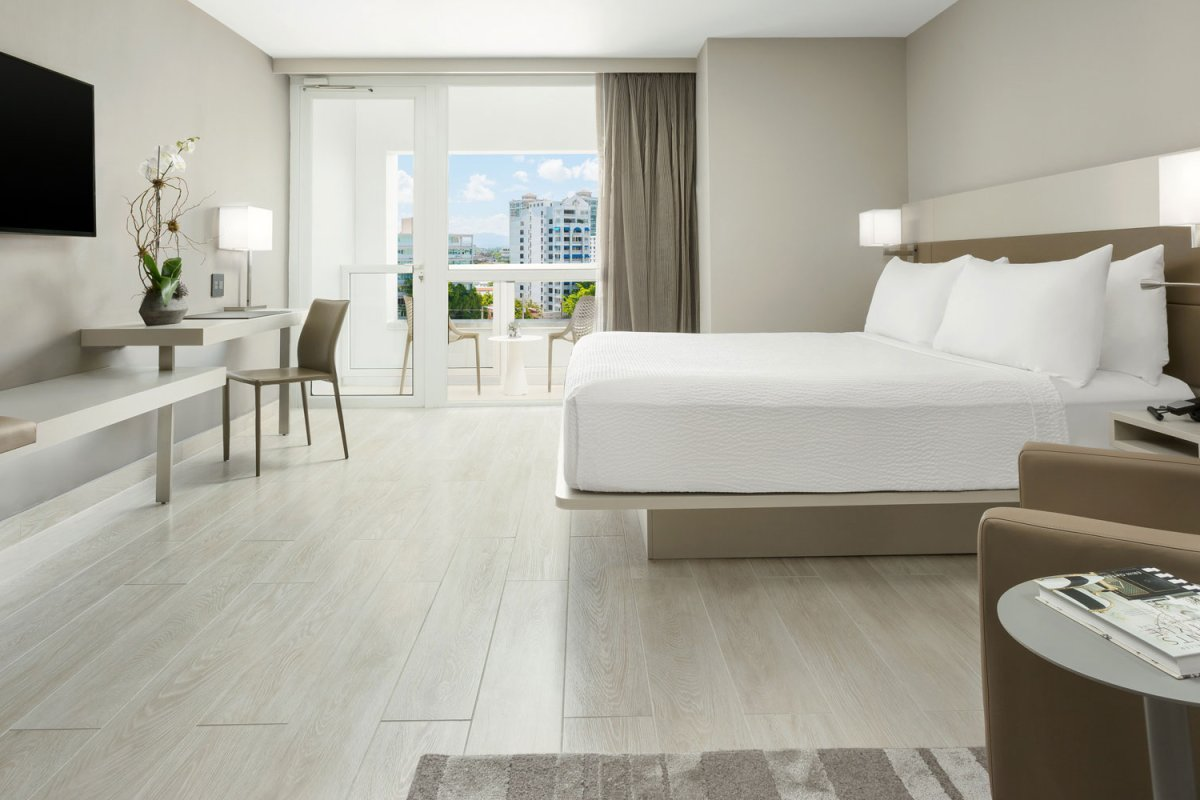 The sleek, modern design of the rooms at the AC hotel are a mix of clean lines and neutral tones.