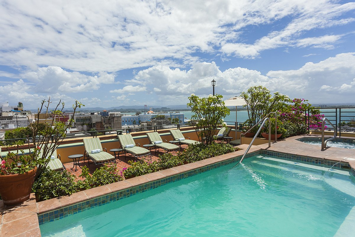 El Convento's rooftop pool offers unbeatable views of the surrounding Old San Juan neighborhood.