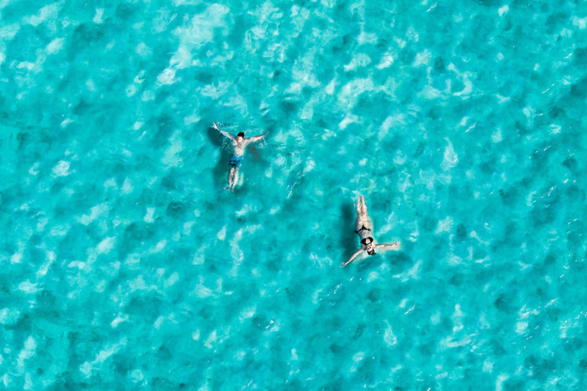 Visitors lay in the clear water in La Parguera