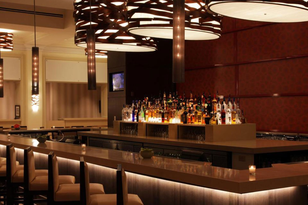 The chic, contemporary-styled bar at the San Juan Marriott Resort.