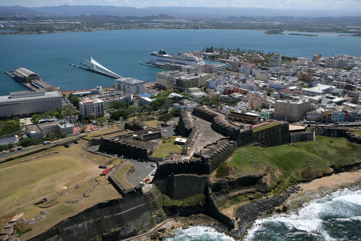 Aerial photo of Old San Juan and Fort San Cristobal.