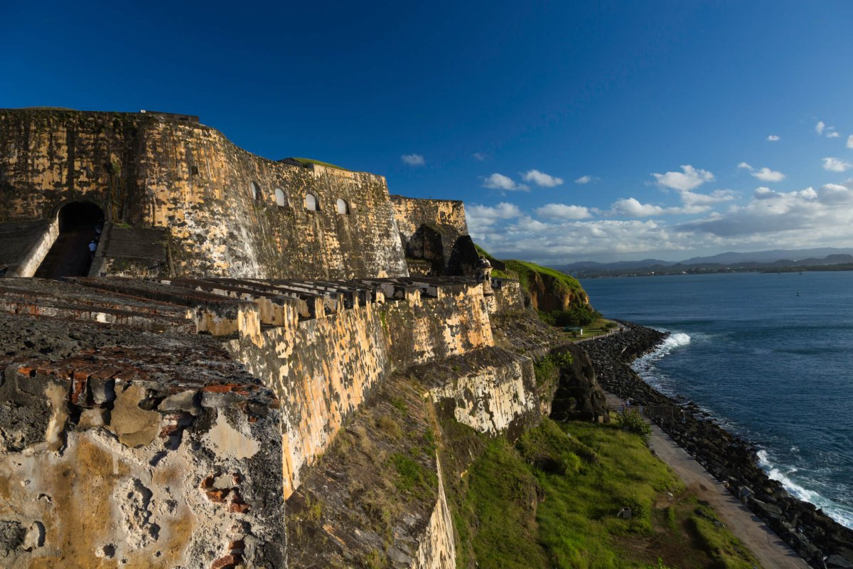 Ocean view of Castillo San Felipe del Morro in San Juan.