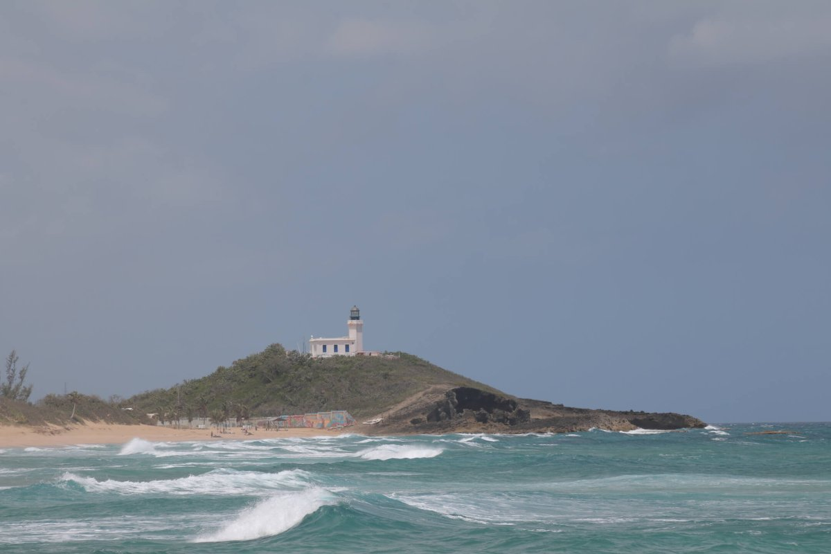Ocean view of the Punta Los Murillos Lighthouse in Arecibo.
