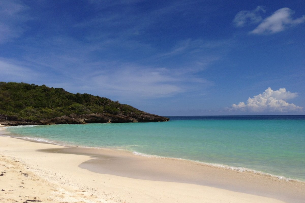 Sunny beach on Vieques.