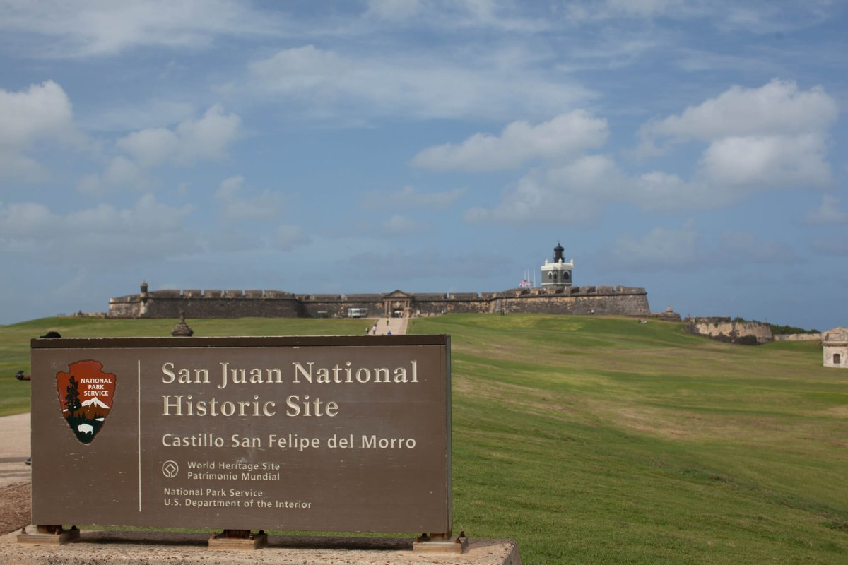 National Historic Site sign at Castillo San Felipe del Morro in San Juan.