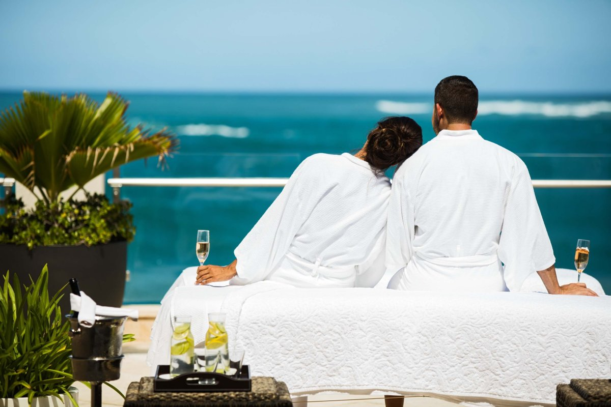 Outdoor massage overlooking the ocean at the Spa at the Condado Vanderbilt Hotel