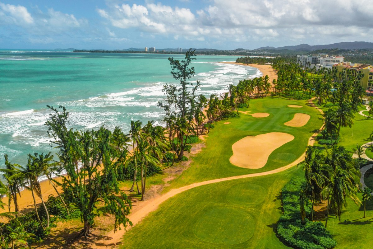 Wyndham Grand Rio Mar golf course alongside the coast.