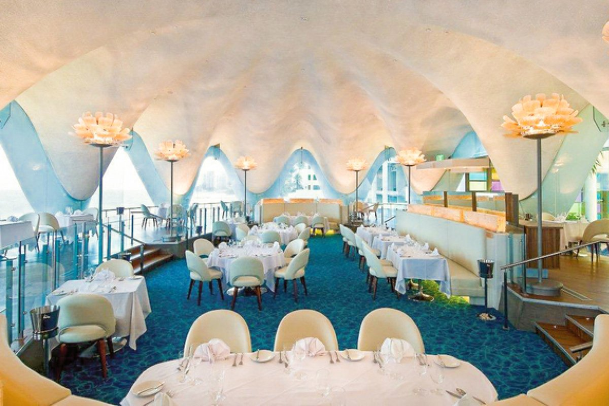 The shell-shaped interior of Perla Restaurant at La Concha Resort.
