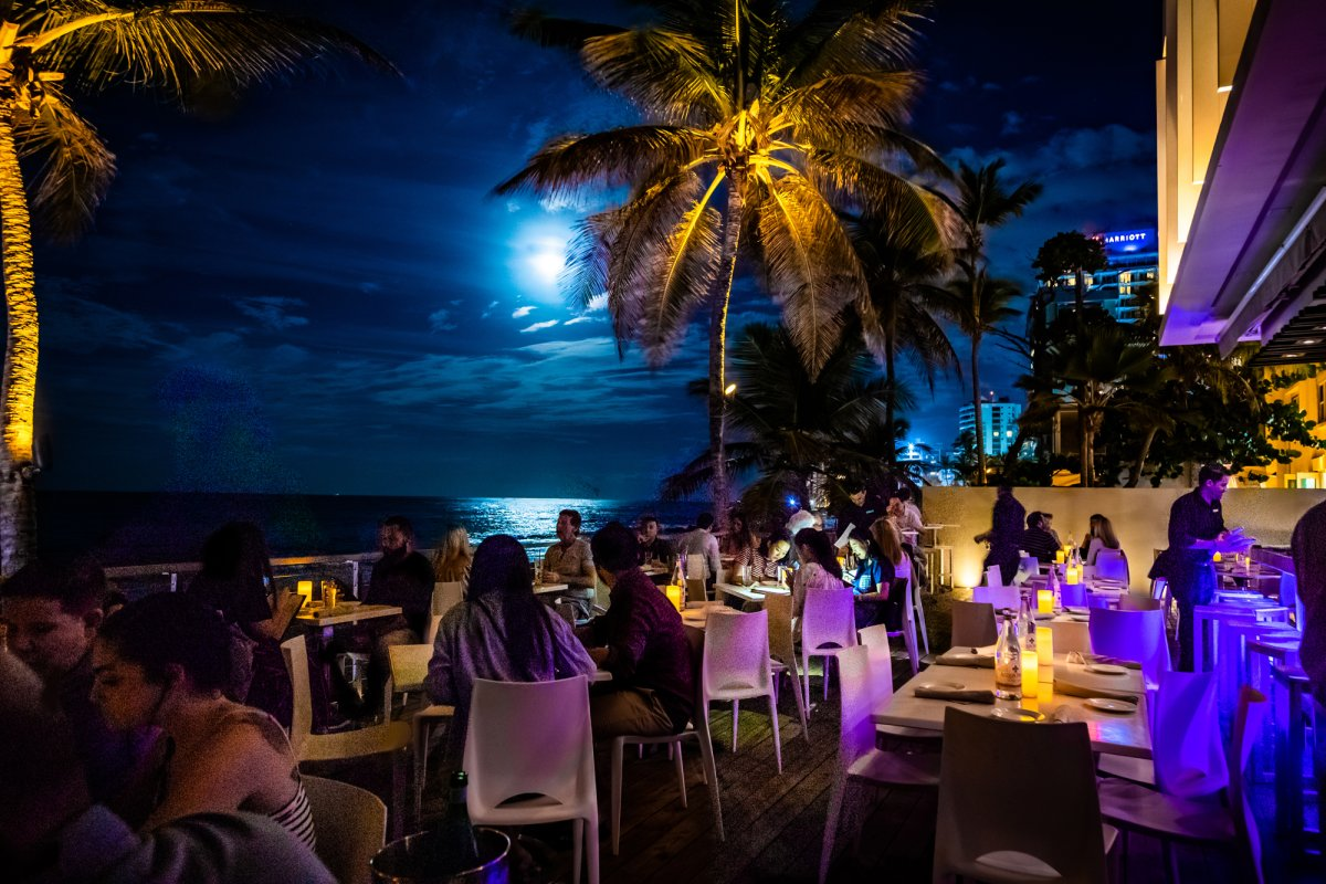 the outdoor terrace at oceano overlooks the ocean