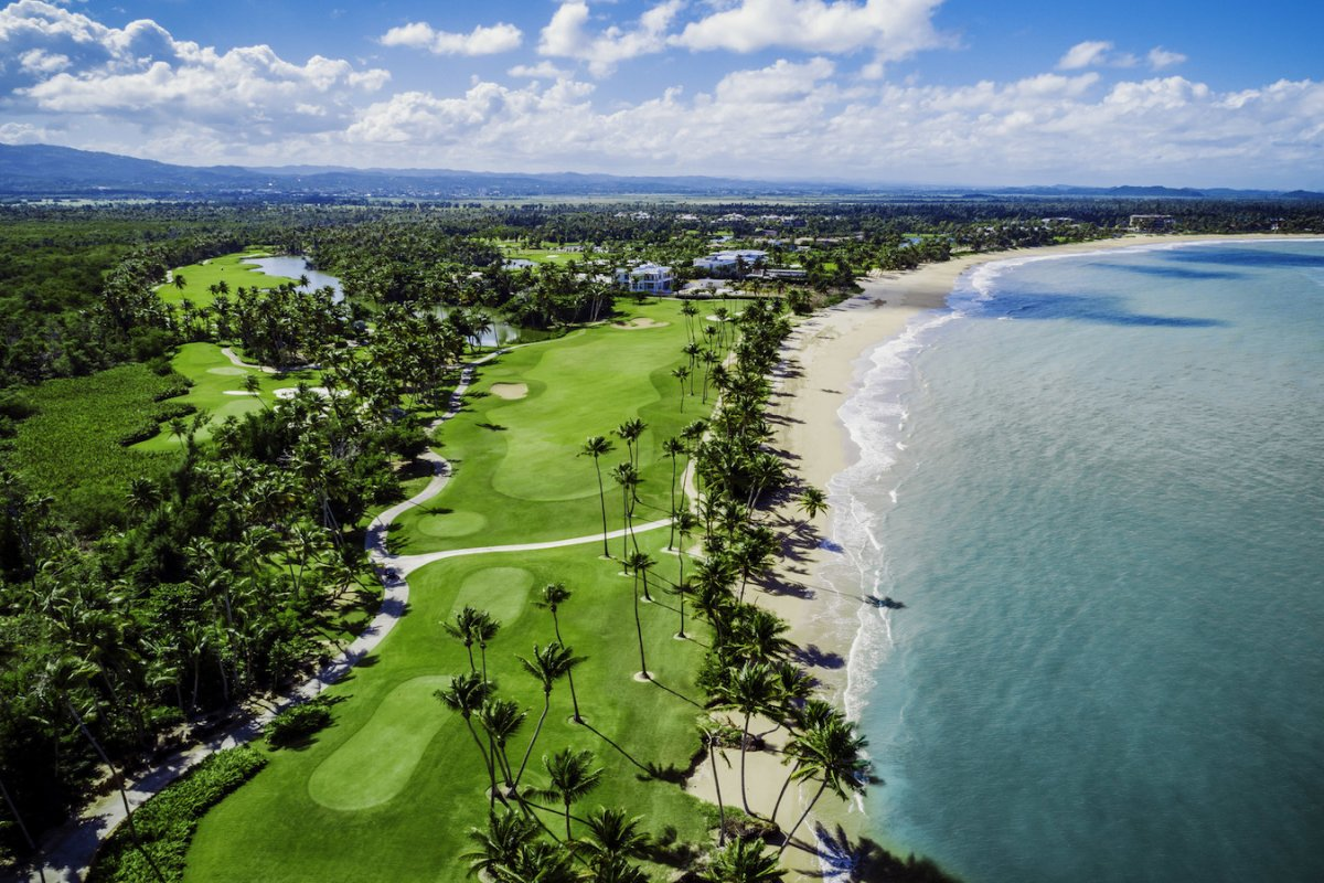 An aerial view of the beachside St. Regis Bahia Beach Resort.