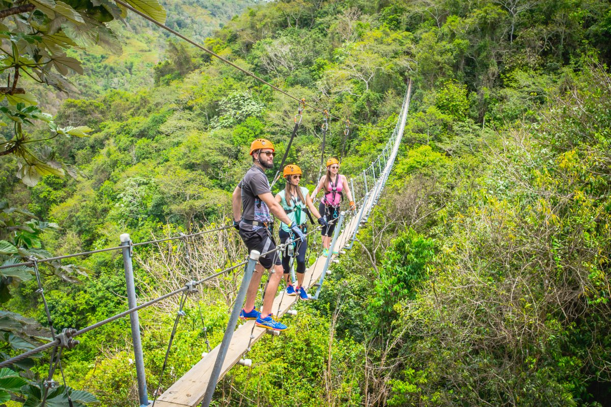 A group of people stand on a suspended bridge at Toro Verde Nature Adventure Park.