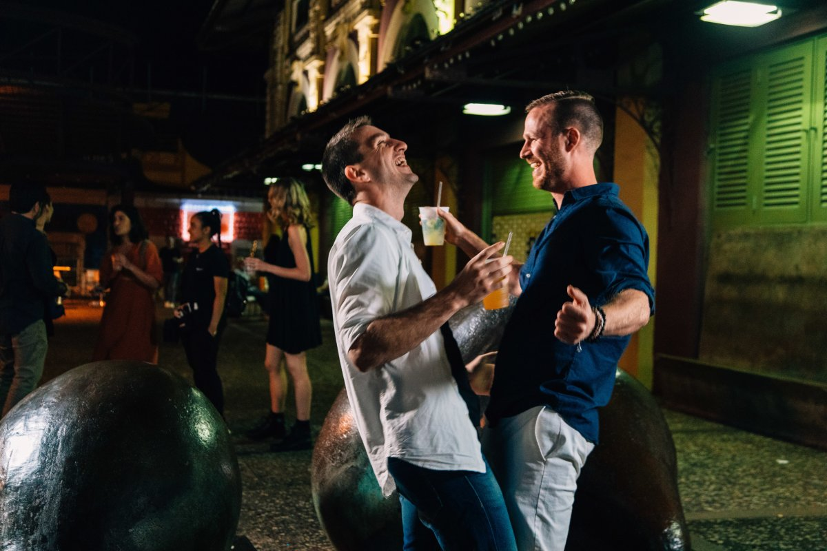 A couple enjoys the vibrant nightlife of Puerto Rico