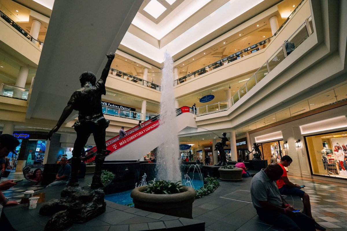 Interior view with fountain at Plaza Las Americas in San Juan.