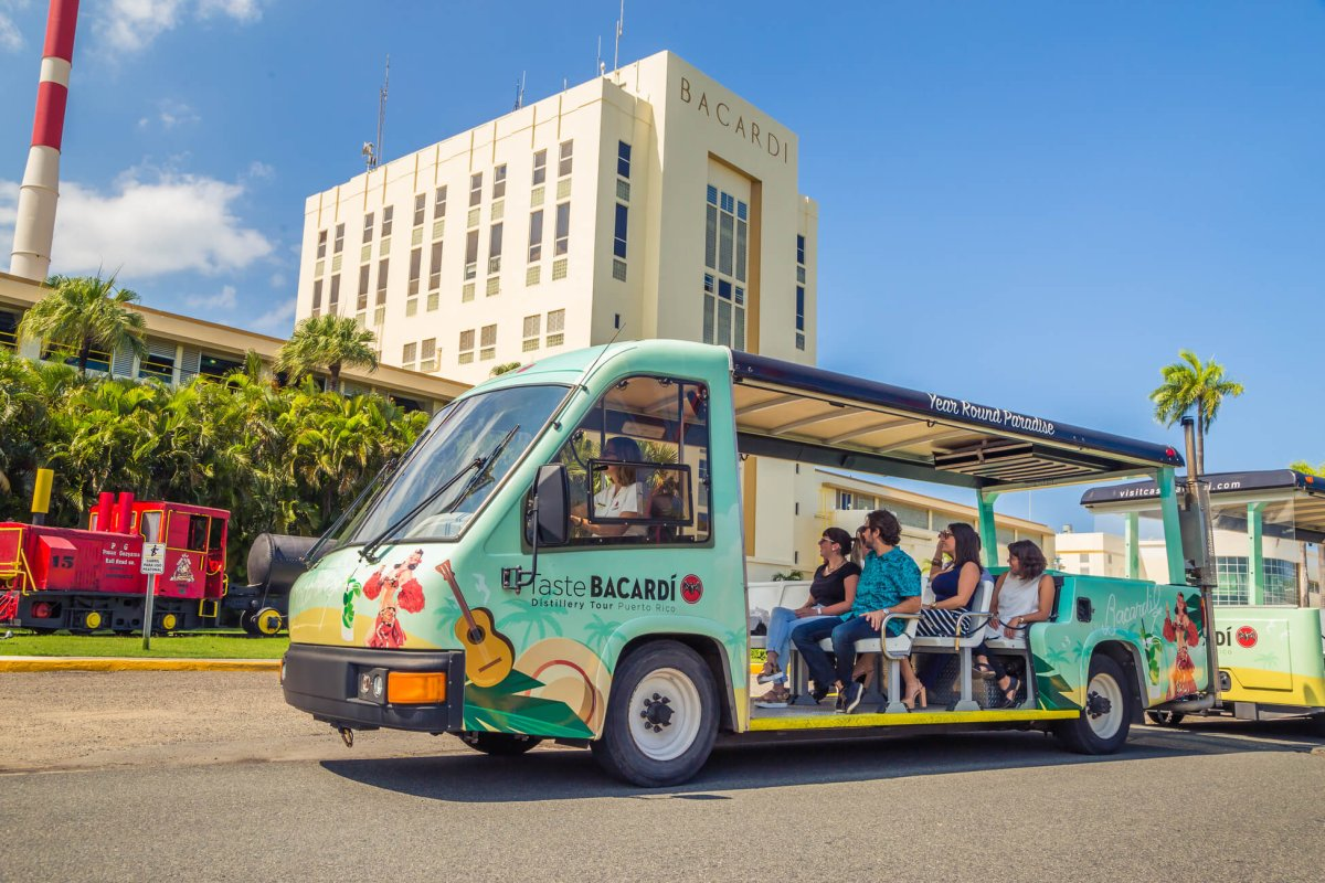 A trolley ride on the Bacardi Rum Tasting Tour.