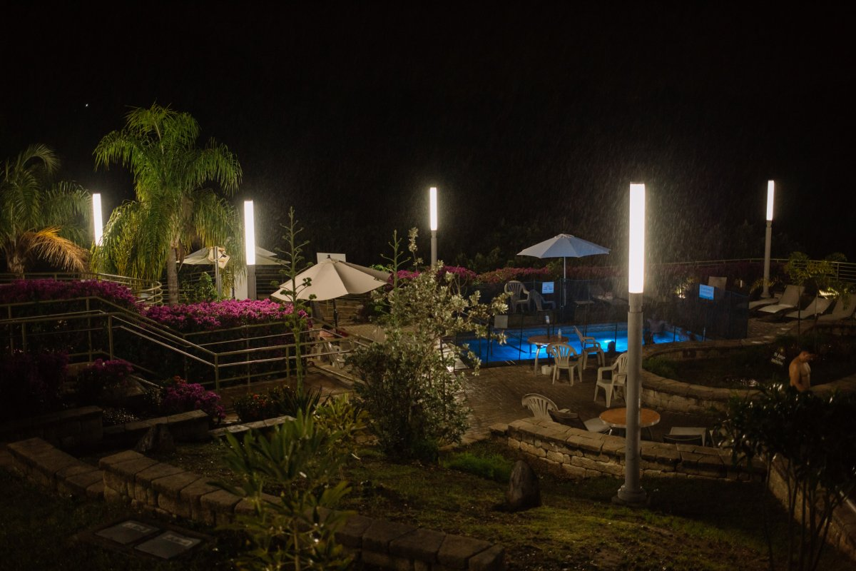 Banos de Coamo Hot Springs at night.