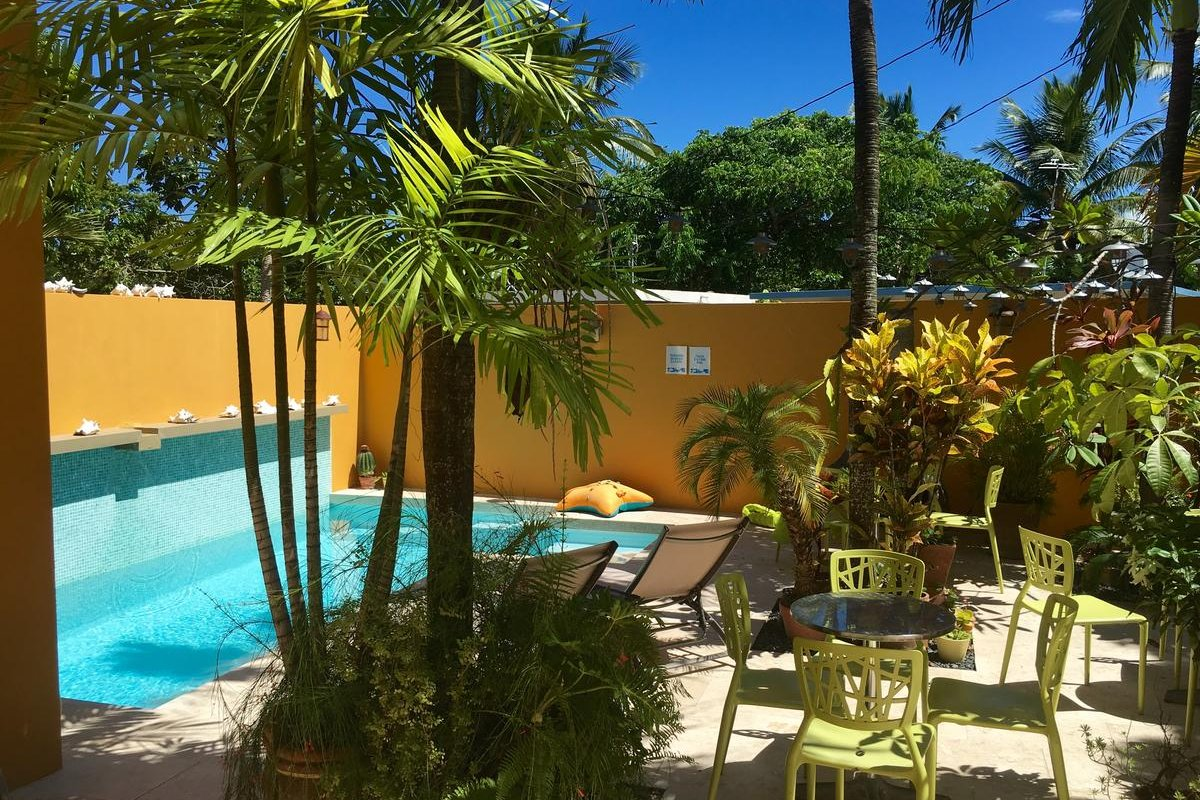 The pool and patio at Casa Amistad in Vieques