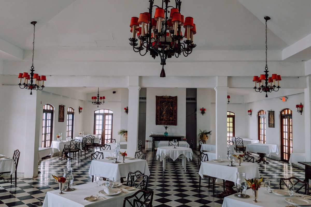 the dining room at the horned dorset hotel in rincon