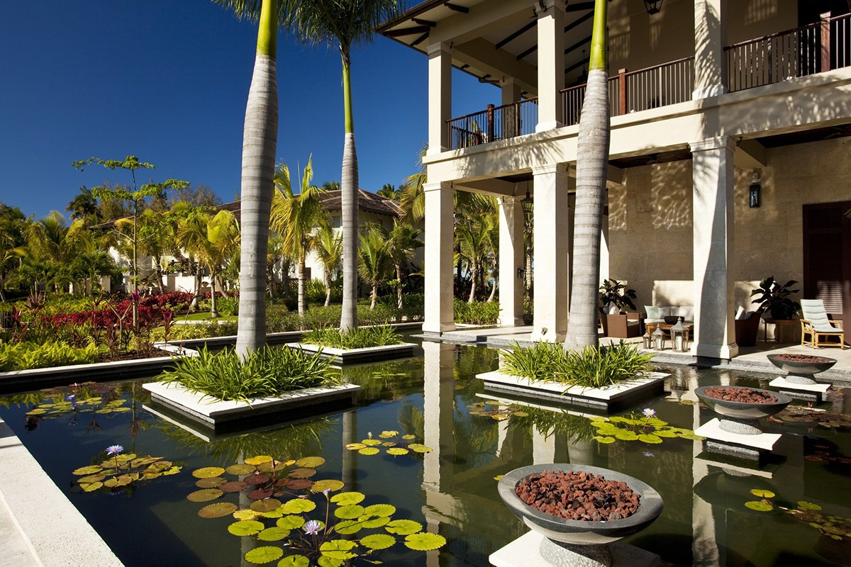 Pond view at the luxury hotel St. Regis Bahia Beach Resort.