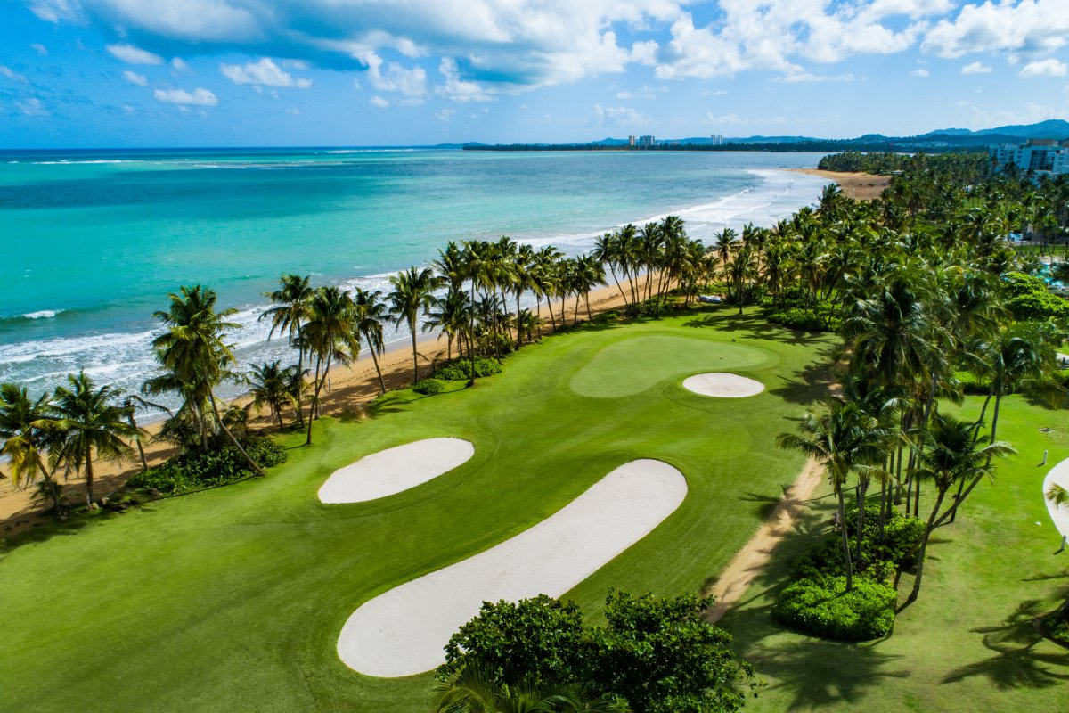 An aerial view of the oceanfront golf course at Wyndham Grand Rio Mar in Rio Grande, Puerto Rico.