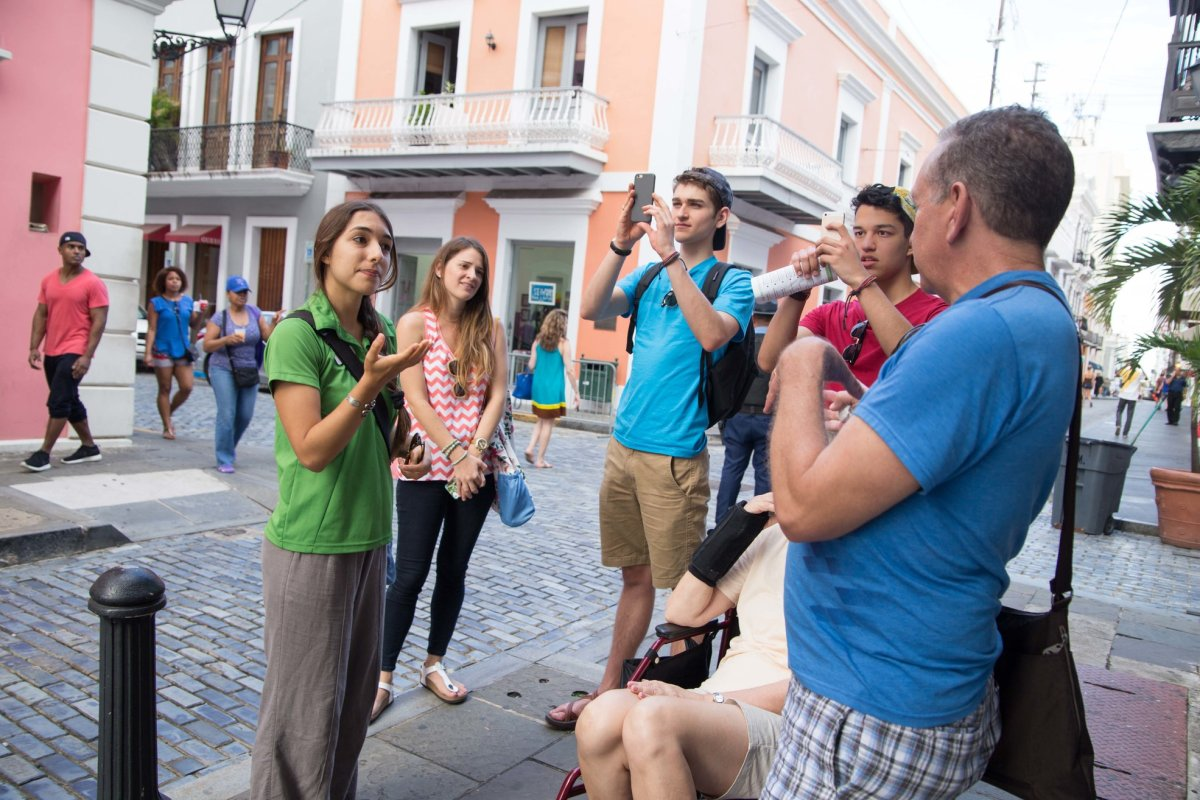 Youth group enjoying a food tour in Old San Juan.
