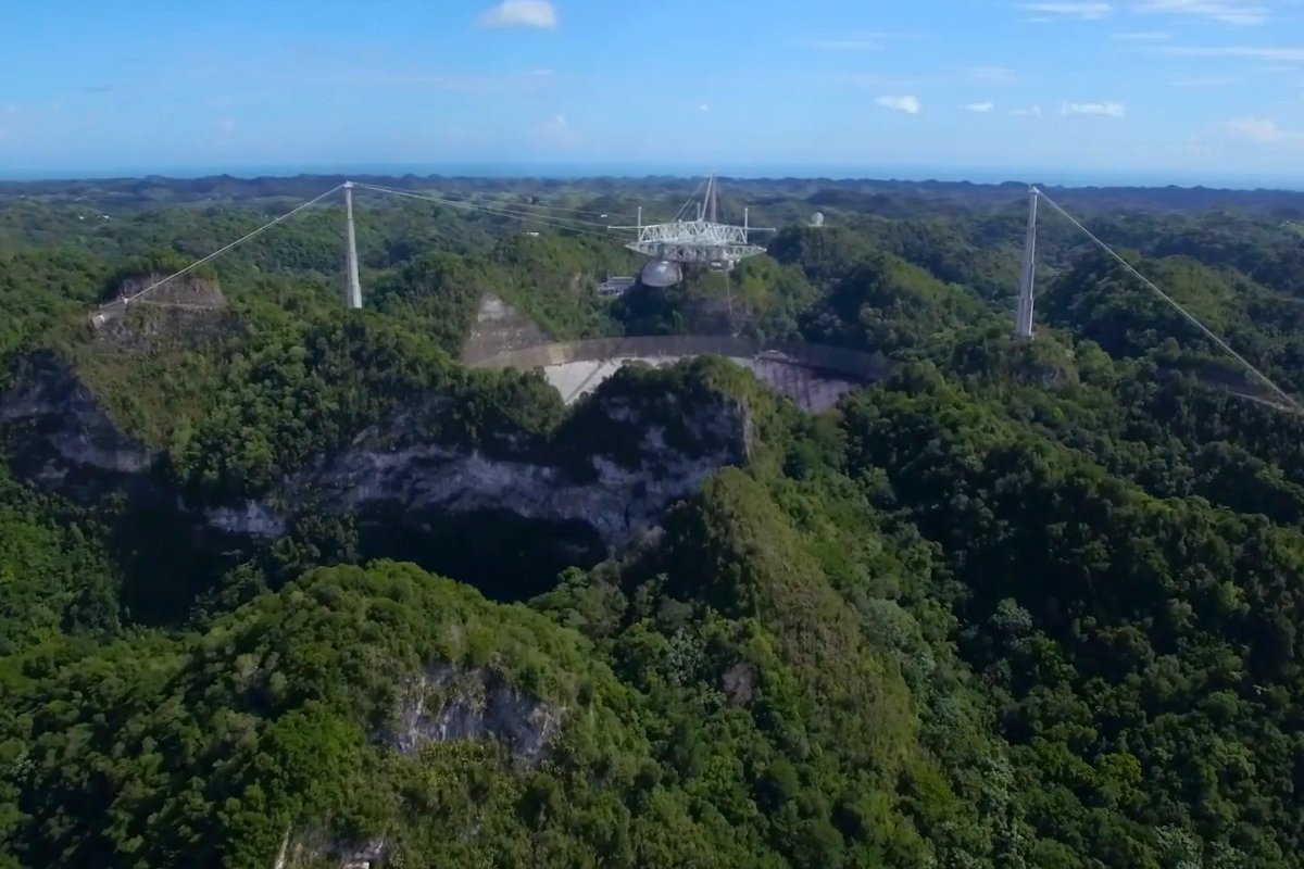 Aerial panoramic view of the Arecibo Observatory.