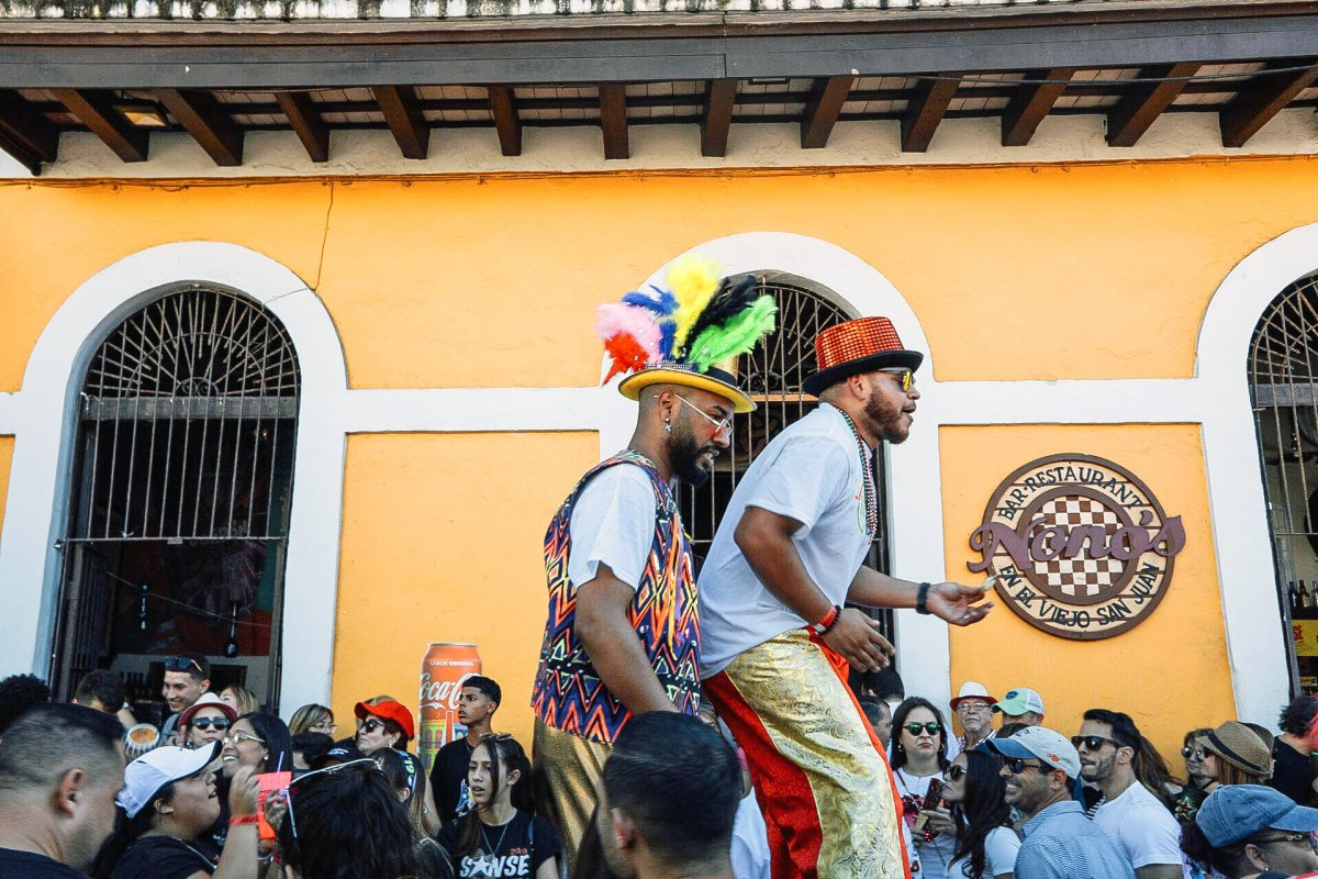 People celebrating Fiestas de la Calle San Sebastián in Old San Juan.