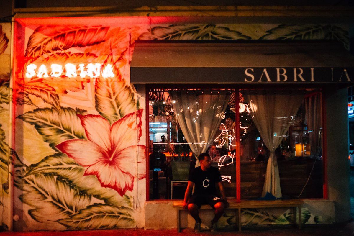 View of a flowery mural in Sabrina's restaurant in Santurce.
