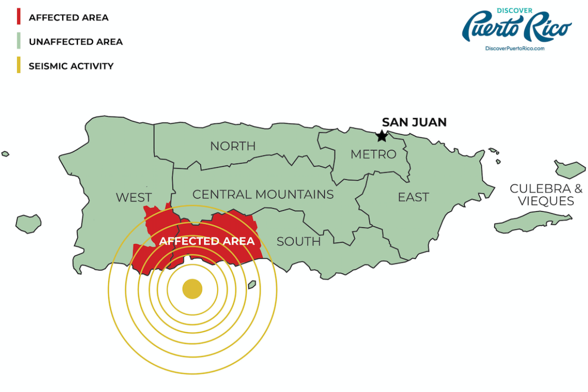 Earthquake affected areas in PR