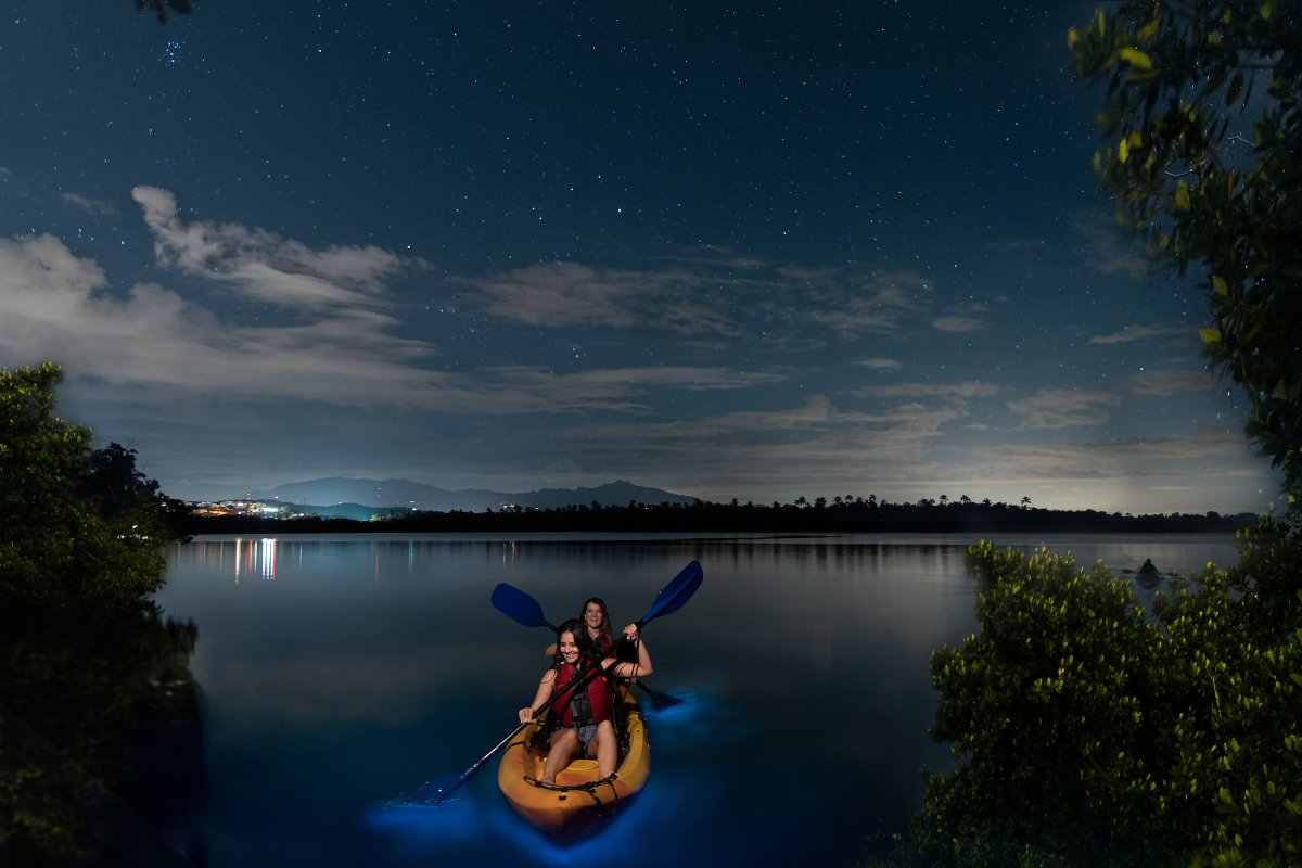 People are kayaking through Vieques' bioluminescent bay.