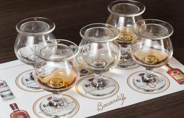 five tasting glasses with different types of rum lined up at casa bacardi