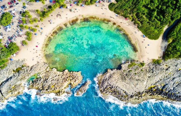 The beach known as Mar Chiquita in Manati is famous for its shape.