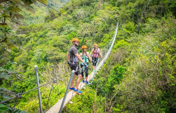 Three people stand on a suspended bridge above the forest at Toro Verde Adventure Park.
