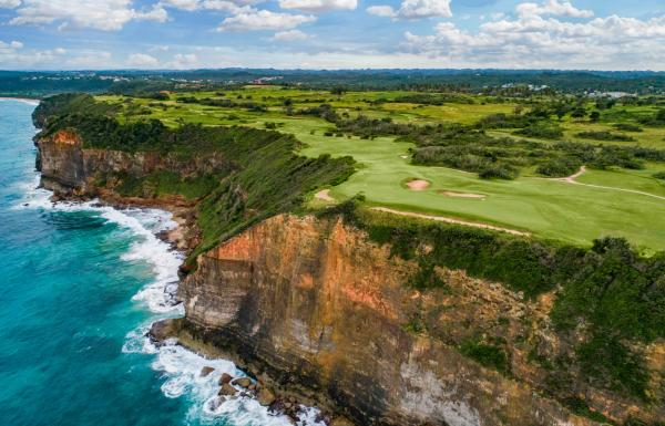 The Royal Isabela Golf Course sits atop ocean cliffs in Isabela, Puerto Rico.