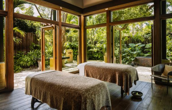 Side-by-side massage tables in the open-air Spa Botanico at the Ritz-Carlton Dorado.