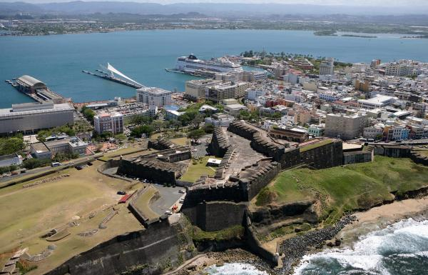 Aerial view of Old San Juan.