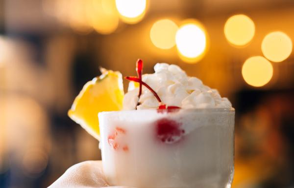 Piña colada in a glass.