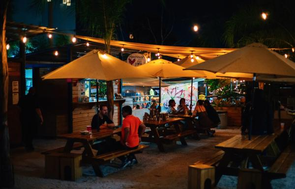 Night view of the food park Lote 23 in Santurce.