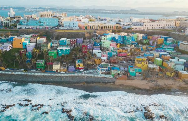Aerial view of La Perla neighborhood in Old San Juan.
