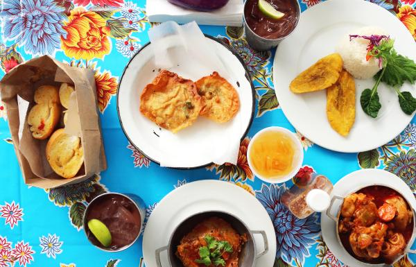 Puerto Rican dishes on a table.