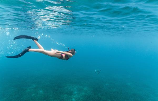 A girl snorkles in Culebra