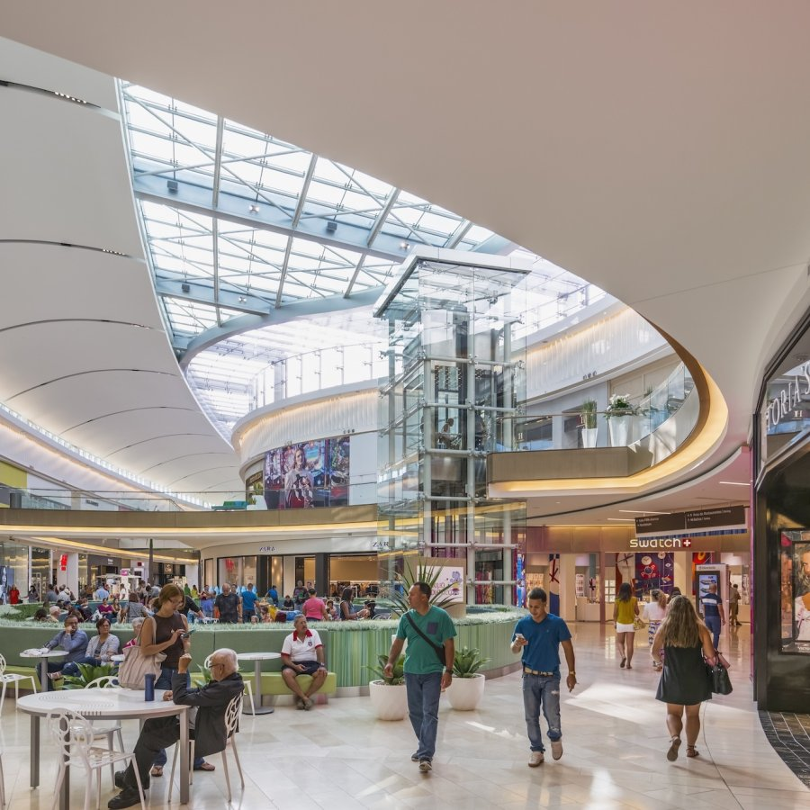 Shoppers enjoy the luxurious offerings at the Mall of San Juan.